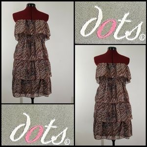 Dots Woman Strapless Layer Short Dress Size Large